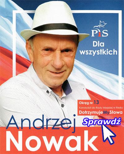 Andrzej Nowak - Kandydat do Rady Miejskiej w Resku